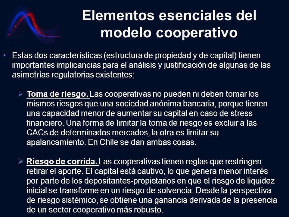 Elementos esenciales del modelo cooperativo Estas dos características (estructura de propiedad y de capital) tienen importantes implicancias para el a