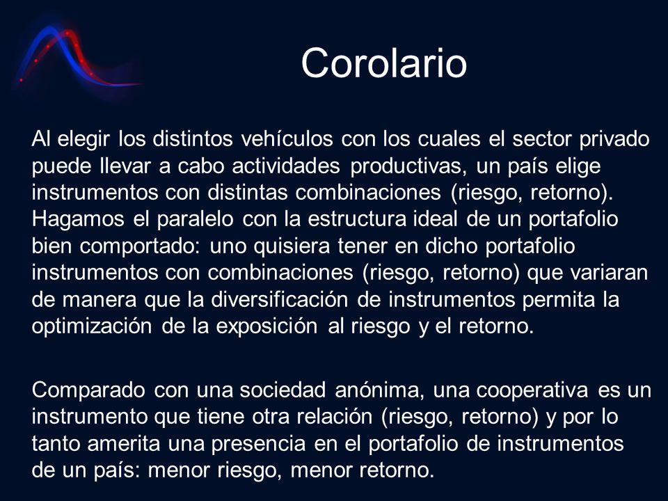 Corolario Al elegir los distintos vehículos con los cuales el sector privado puede llevar a cabo actividades productivas, un país elige instrumentos c