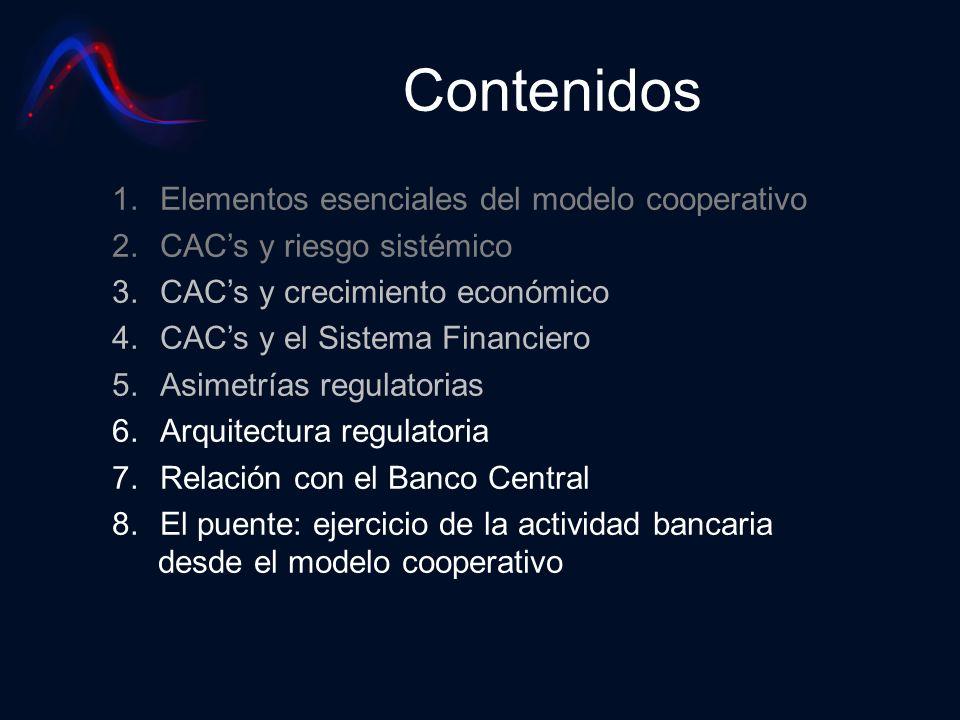 Contenidos 1.Elementos esenciales del modelo cooperativo 2.CACs y riesgo sistémico 3.CACs y crecimiento económico 4.CACs y el Sistema Financiero 5.Asi