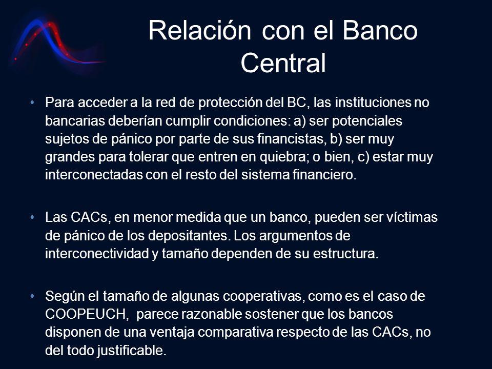 Relación con el Banco Central Para acceder a la red de protección del BC, las instituciones no bancarias deberían cumplir condiciones: a) ser potencia
