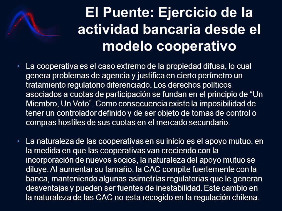 El Puente: Ejercicio de la actividad bancaria desde el modelo cooperativo La cooperativa es el caso extremo de la propiedad difusa, lo cual genera pro
