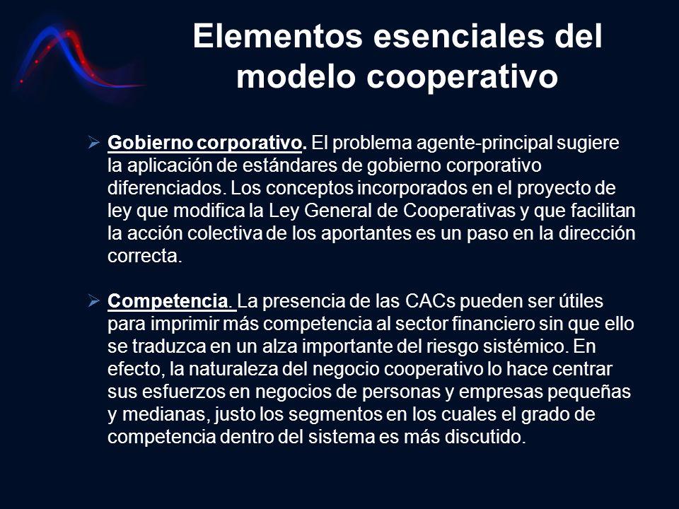 Elementos esenciales del modelo cooperativo Gobierno corporativo. El problema agente-principal sugiere la aplicación de estándares de gobierno corpora