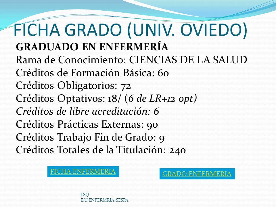 FICHA GRADO (UNIV. OVIEDO) LSQ E.U.ENFERMRÍA SESPA GRADUADO EN ENFERMERÍA Rama de Conocimiento: CIENCIAS DE LA SALUD Créditos de Formación Básica: 60