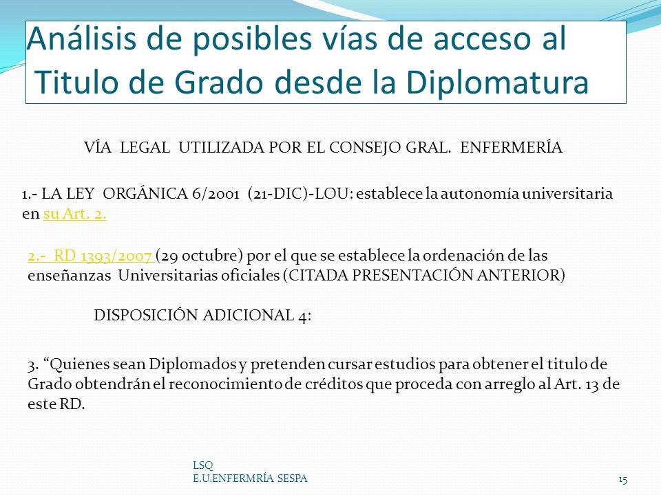 Análisis de posibles vías de acceso al Titulo de Grado desde la Diplomatura LSQ E.U.ENFERMRÍA SESPA15 1.- LA LEY ORGÁNICA 6/2001 (21-DIC)-LOU: estable