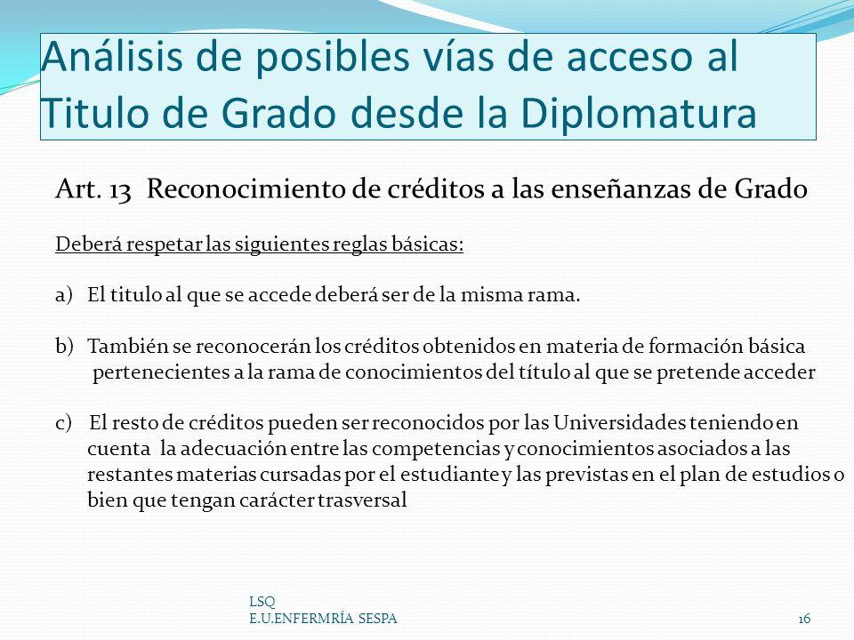 Análisis de posibles vías de acceso al Titulo de Grado desde la Diplomatura LSQ E.U.ENFERMRÍA SESPA16 Art. 13 Reconocimiento de créditos a las enseñan