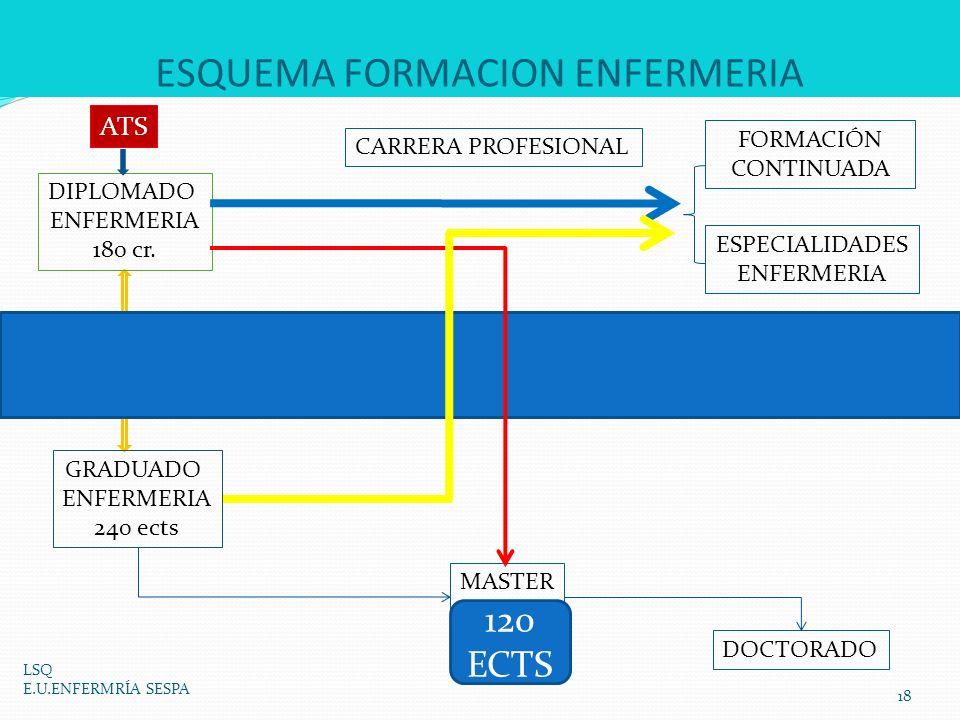 ESQUEMA FORMACION ENFERMERIA LSQ E.U.ENFERMRÍA SESPA 18 GRADUADO ENFERMERIA 240 ects DIPLOMADO ENFERMERIA 180 cr. MASTER 60 ECTS DOCTORADO ESPECIALIDA