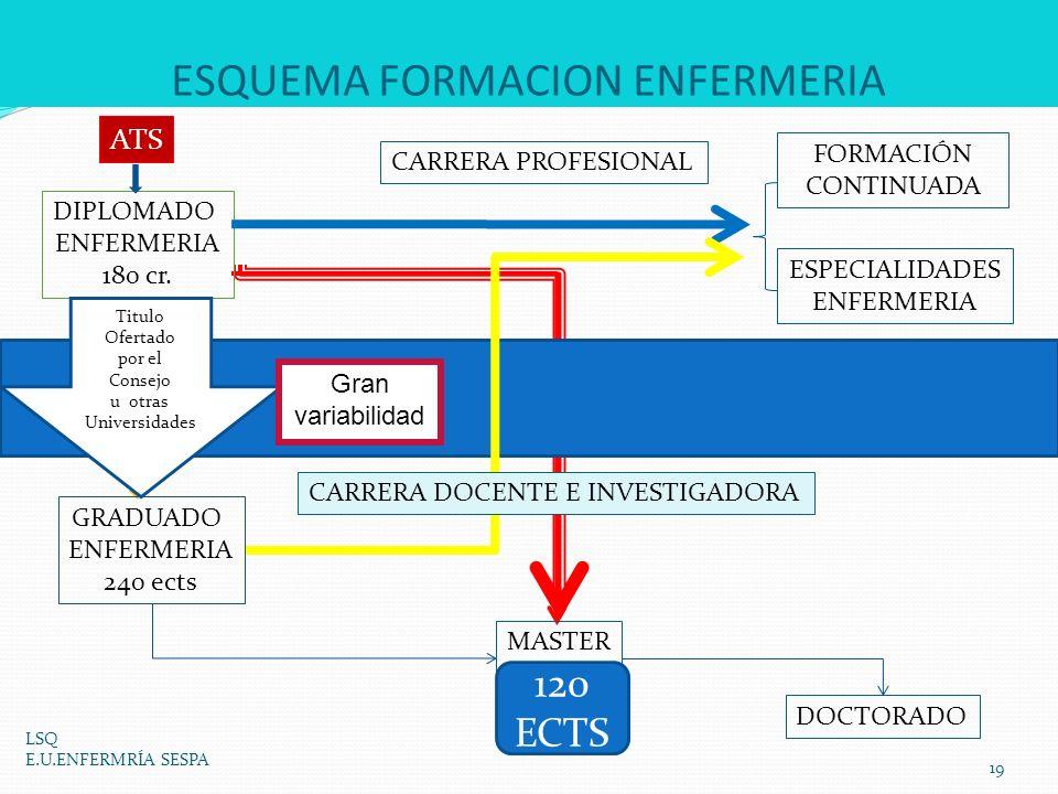 ESQUEMA FORMACION ENFERMERIA LSQ E.U.ENFERMRÍA SESPA 19 GRADUADO ENFERMERIA 240 ects DIPLOMADO ENFERMERIA 180 cr. CONVALIDACIÓN No hay nada elaborado