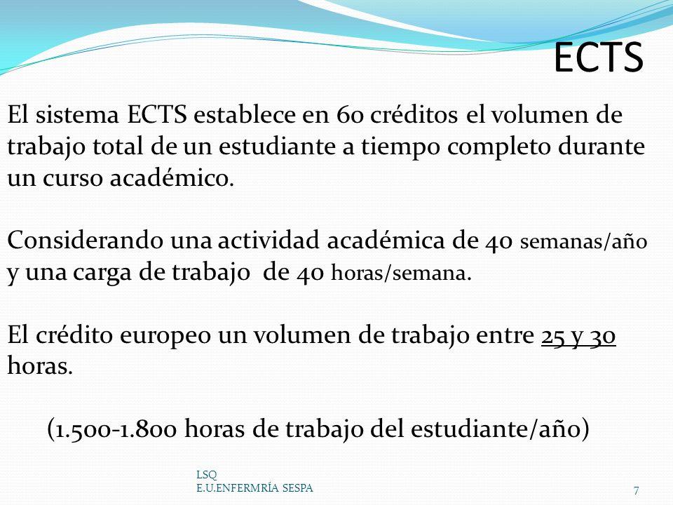 ECTS LSQ E.U.ENFERMRÍA SESPA7 El sistema ECTS establece en 60 créditos el volumen de trabajo total de un estudiante a tiempo completo durante un curso