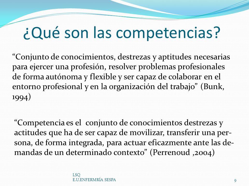 ¿Qué son las competencias? LSQ E.U.ENFERMRÍA SESPA9 Conjunto de conocimientos, destrezas y aptitudes necesarias para ejercer una profesión, resolver p