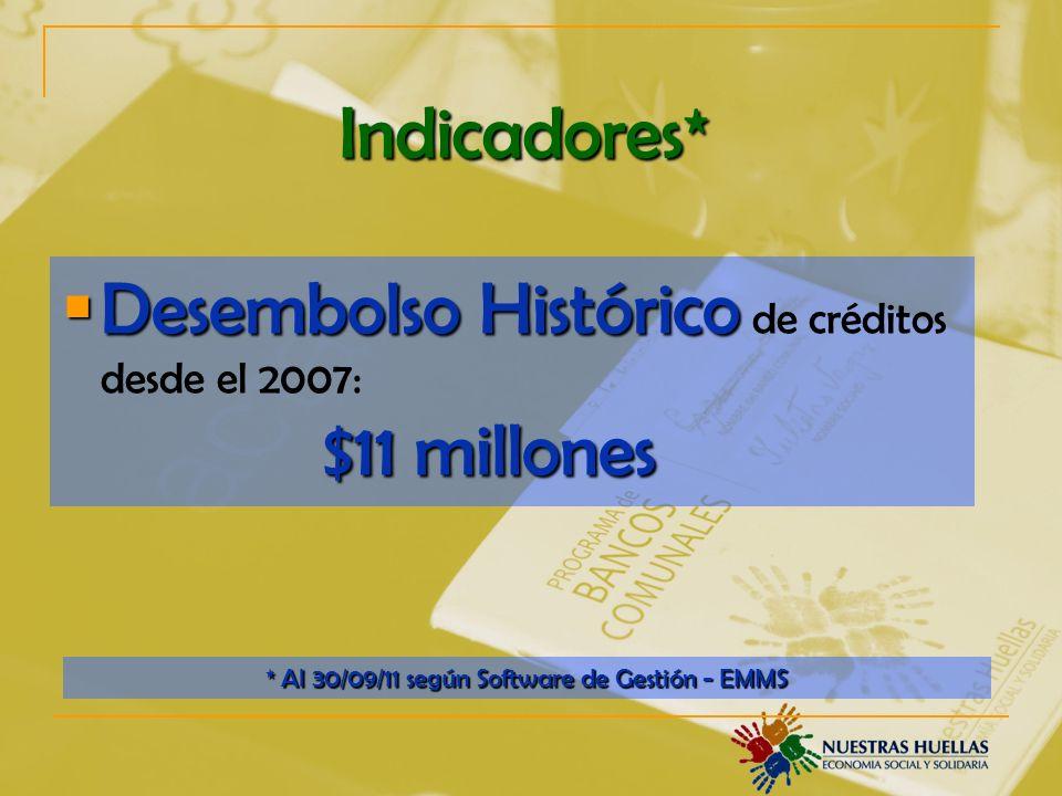 Indicadores* Desembolso Histórico $11 millones Desembolso Histórico de créditos desde el 2007: $11 millones * Al 30/09/11 según Software de Gestión - EMMS