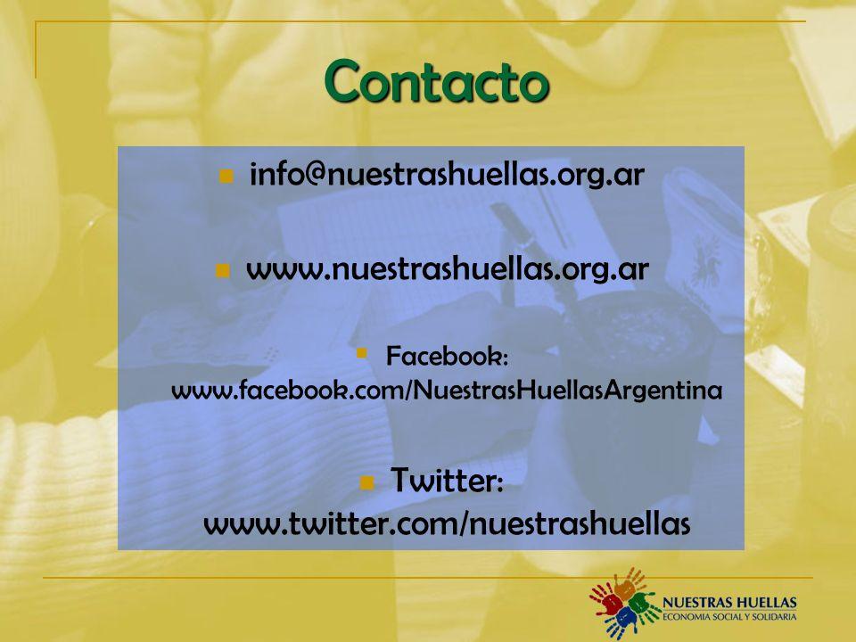 Contacto info@nuestrashuellas.org.ar www.nuestrashuellas.org.ar Facebook: www.facebook.com/NuestrasHuellasArgentina Twitter: www.twitter.com/nuestrashuellas