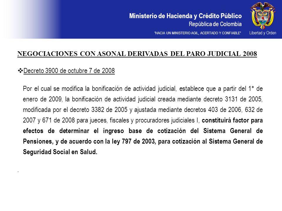 Ministerio de Hacienda y Crédito Público República de Colombia HACIA UN MINISTERIO AGIL, ACERTADO Y CONFIABLE NEGOCIACIONES CON ASONAL DERIVADAS DEL PARO JUDICIAL 2008 Decreto 3900 de octubre 7 de 2008 Por el cual se modifica la bonificación de actividad judicial, establece que a partir del 1° de enero de 2009, la bonificación de actividad judicial creada mediante decreto 3131 de 2005, modificada por el decreto 3382 de 2005 y ajustada mediante decretos 403 de 2006, 632 de 2007 y 671 de 2008 para jueces, fiscales y procuradores judiciales I, constituirá factor para efectos de determinar el ingreso base de cotización del Sistema General de Pensiones, y de acuerdo con la ley 797 de 2003, para cotización al Sistema General de Seguridad Social en Salud..