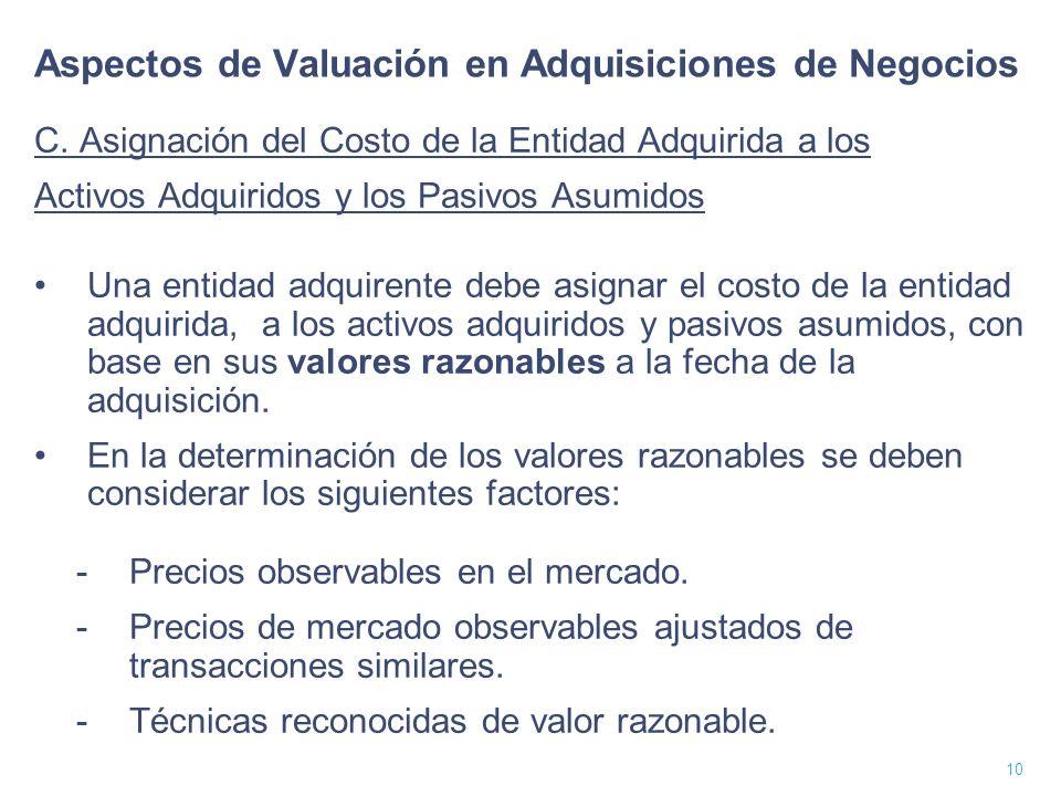 11 Aspectos de Valuación en Adquisiciones de Negocios C.