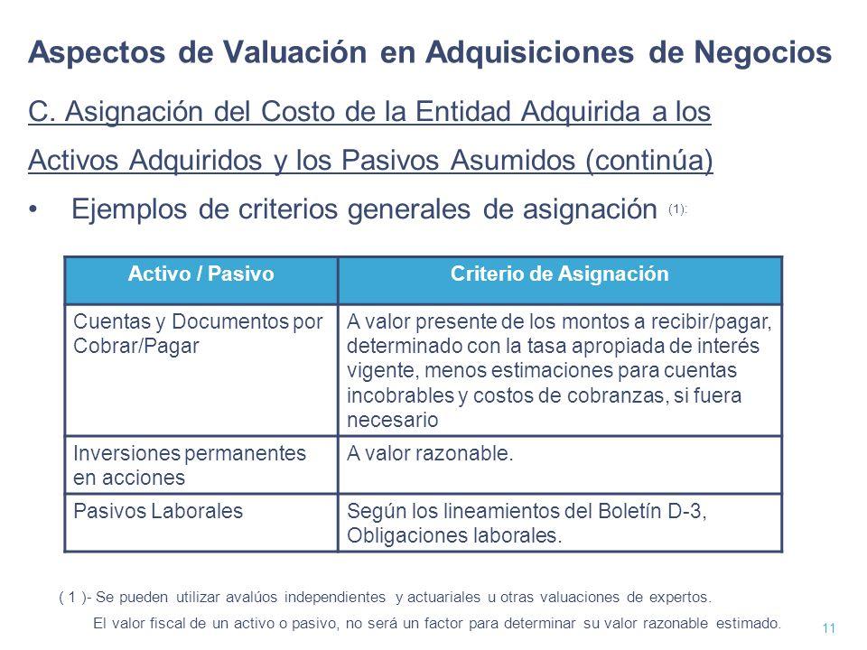 12 Aspectos de Valuación en Adquisiciones de Negocios C.