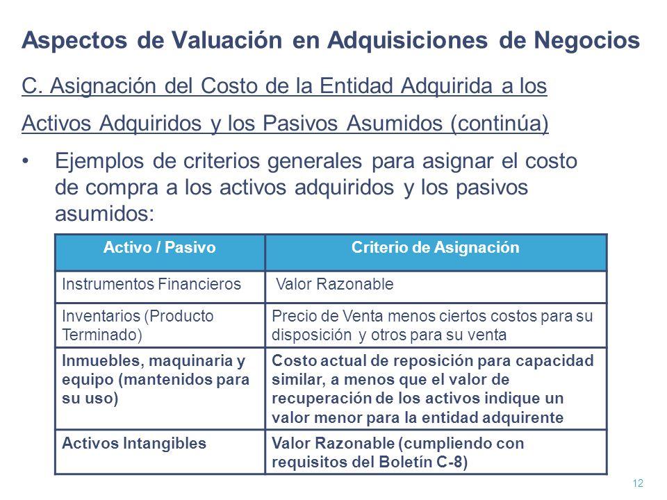 13 Aspectos de Valuación en Adquisiciones de Negocios C.