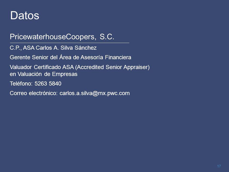 17 Datos PricewaterhouseCoopers, S.C. C.P., ASA Carlos A. Silva Sánchez Gerente Senior del Área de Asesoría Financiera Valuador Certificado ASA (Accre