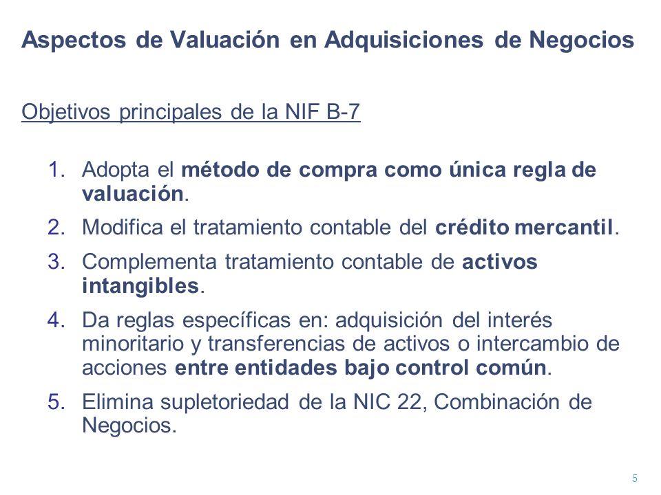 6 Valor Justo (Fair Value) La NIF B-7 señala: Es el monto por el cual puede intercambiarse un activo o liquidarse un pasivo entre partes interesadas e igualmente dispuestas en una transacción de libre competencia.