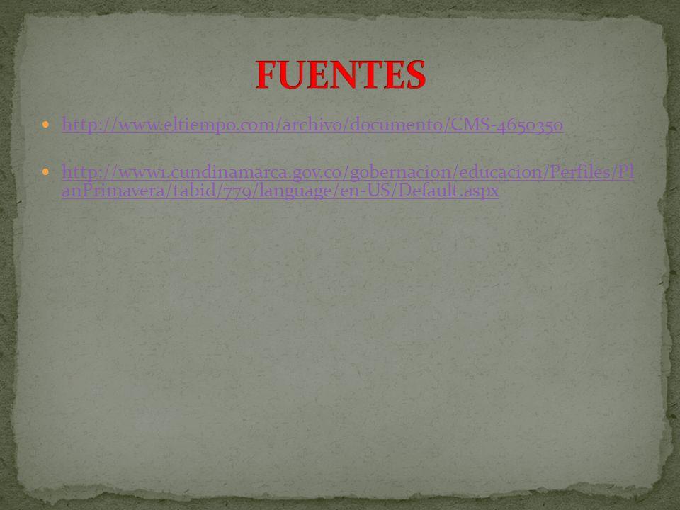 http://www.eltiempo.com/archivo/documento/CMS-4650350 http://www1.cundinamarca.gov.co/gobernacion/educacion/Perfiles/Pl anPrimavera/tabid/779/language