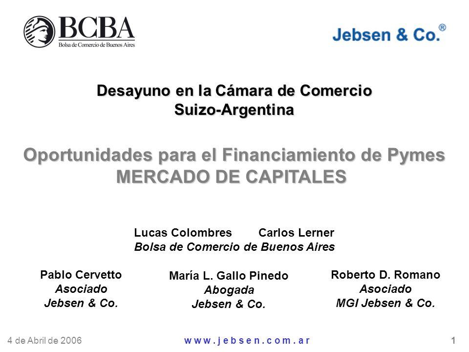 Desayuno en la Cámara de Comercio Suizo-Argentina Oportunidades para el Financiamiento de Pymes MERCADO DE CAPITALES Lucas Colombres Carlos Lerner Bol