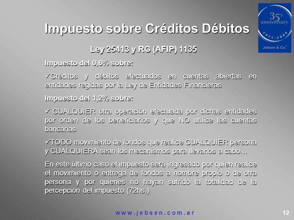 Impuesto sobre Créditos Débitos Ley 25413 y RG (AFIP) 1135 Impuesto del 0,6% sobre: Créditos y débitos efectuados en cuentas abiertas en entidades reg