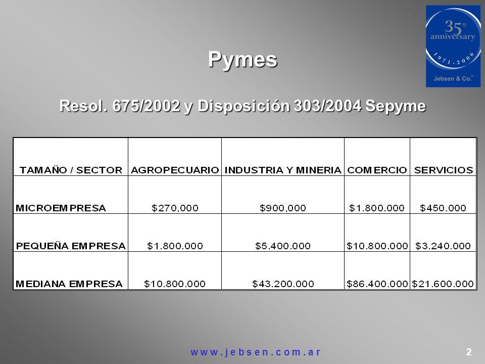 Pymes Resol. 675/2002 y Disposición 303/2004 Sepyme w w w. j e b s e n. c o m. a r 2
