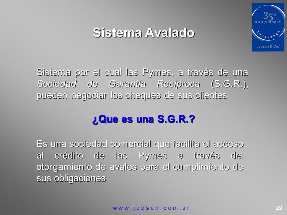 Sistema Avalado Sistema por el cual las Pymes, a través de una Sociedad de Garantía Recíproca (S.G.R.), pueden negociar los cheques de sus clientes ¿Q
