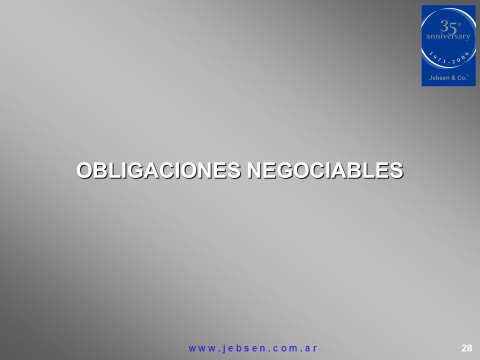 OBLIGACIONES NEGOCIABLES w w w. j e b s e n. c o m. a r 28