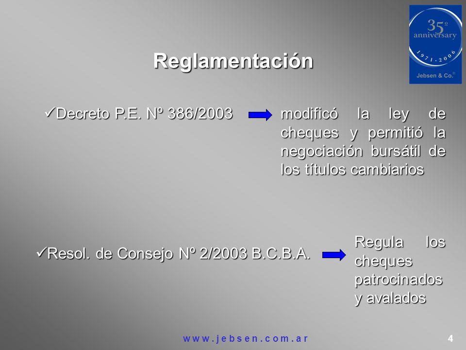 Reglamentación Decreto P.E. Nº 386/2003 Decreto P.E. Nº 386/2003 modificó la ley de cheques y permitió la negociación bursátil de los títulos cambiari