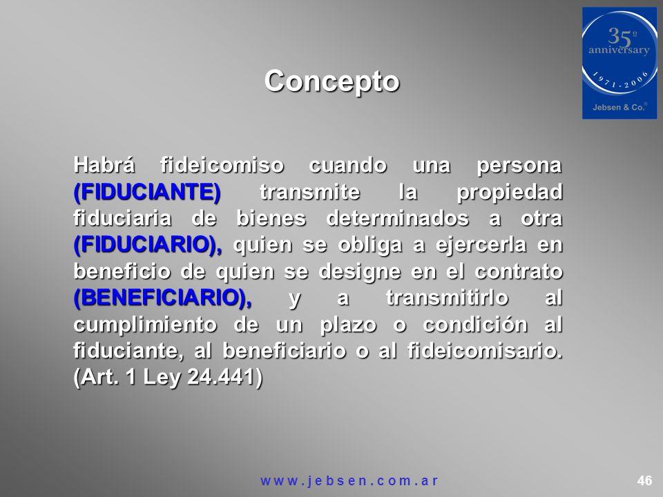 Concepto Habrá fideicomiso cuando una persona (FIDUCIANTE) transmite la propiedad fiduciaria de bienes determinados a otra (FIDUCIARIO), quien se obli