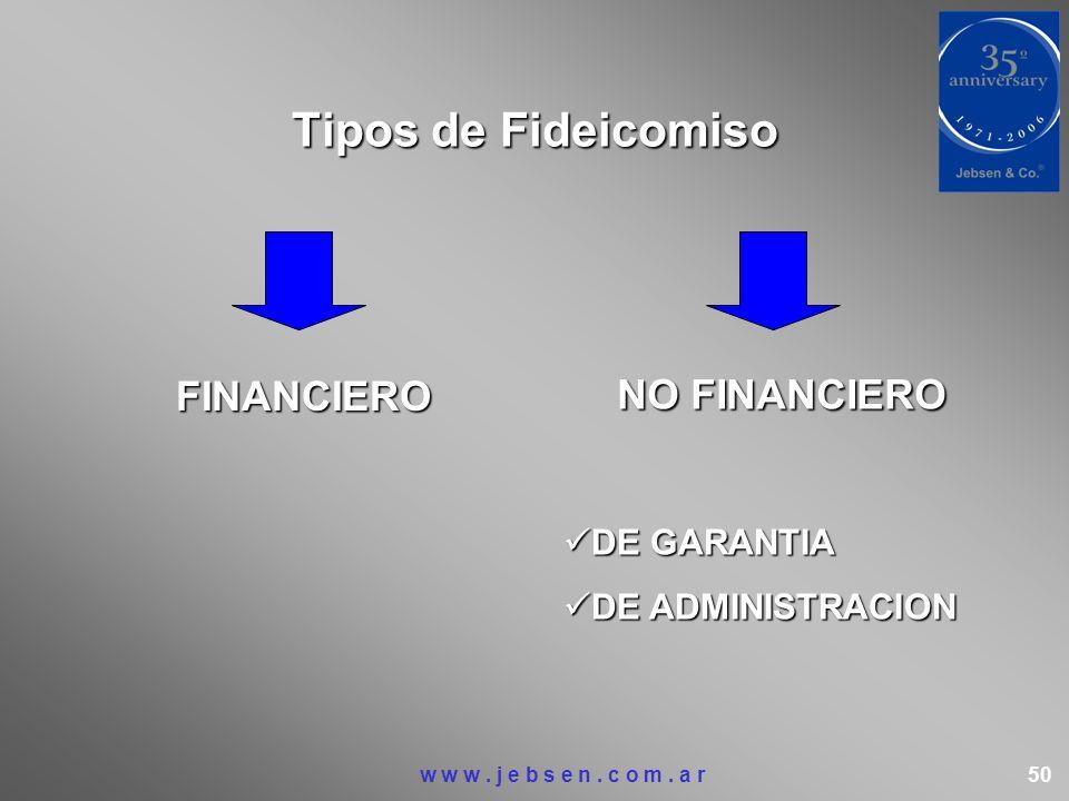 Tipos de Fideicomiso FINANCIERO NO FINANCIERO DE GARANTIA DE GARANTIA DE ADMINISTRACION DE ADMINISTRACION w w w. j e b s e n. c o m. a r 50