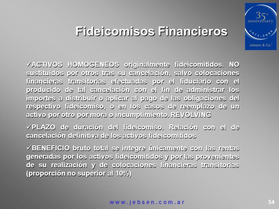 Fideicomisos Financieros ACTIVOS HOMOGENEOS originalmente fideicomitidos. NO sustituidos por otros tras su cancelación, salvo colocaciones financieras
