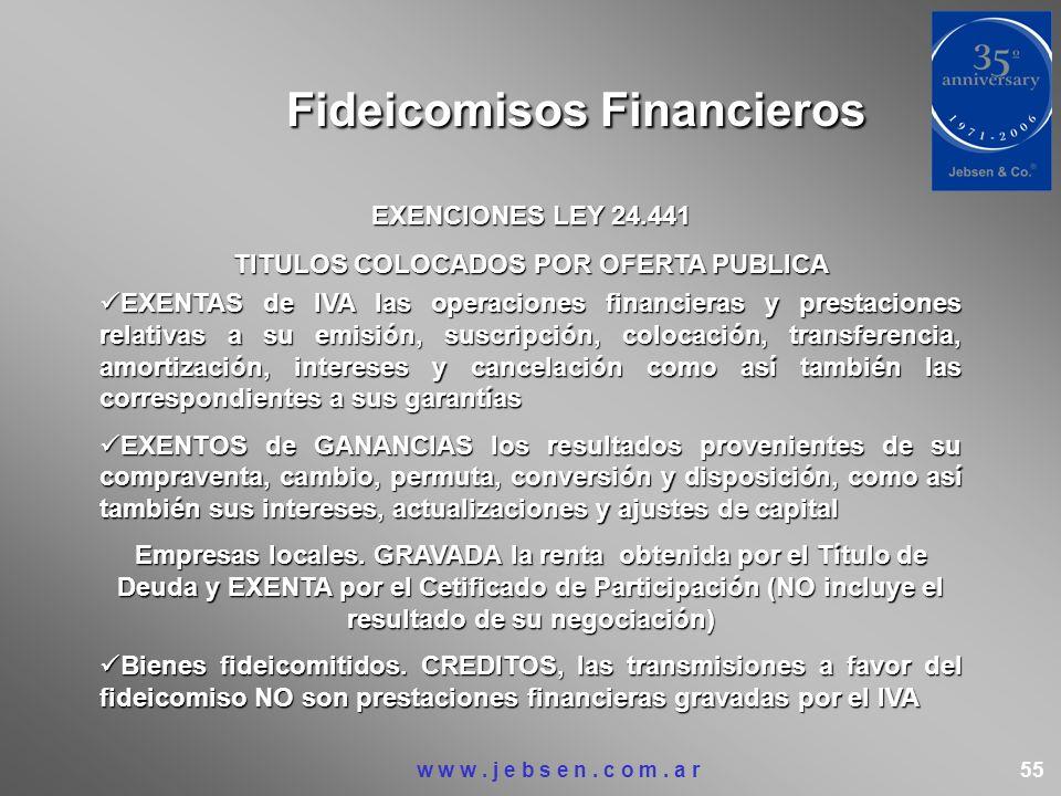 Fideicomisos Financieros EXENCIONES LEY 24.441 TITULOS COLOCADOS POR OFERTA PUBLICA EXENTAS de IVA las operaciones financieras y prestaciones relativa