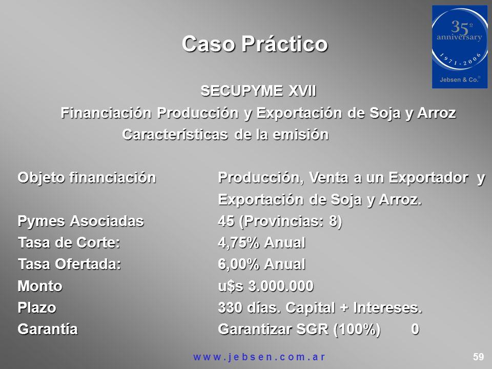SECUPYME XVII Financiación Producción y Exportación de Soja y Arroz Características de la emisión Características de la emisión Objeto financiaciónPro