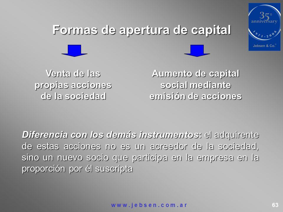Formas de apertura de capital Diferencia con los demás instrumentos: el adquirente de estas acciones no es un acreedor de la sociedad, sino un nuevo s