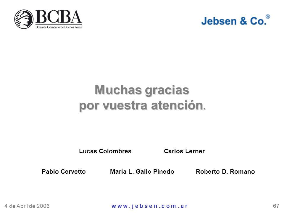 Muchas gracias por vuestra atención. Lucas Colombres Carlos Lerner Roberto D. RomanoMaría L. Gallo PinedoPablo Cervetto 4 de Abril de 2006 w w w. j e