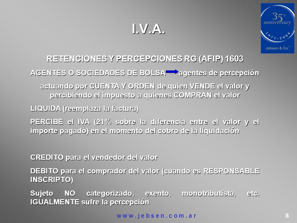 I.V.A. RETENCIONES Y PERCEPCIONES RG (AFIP) 1603 AGENTES O SOCIEDADES DE BOLSAagentes de percepción actuando por CUENTA Y ORDEN de quien VENDE el valo