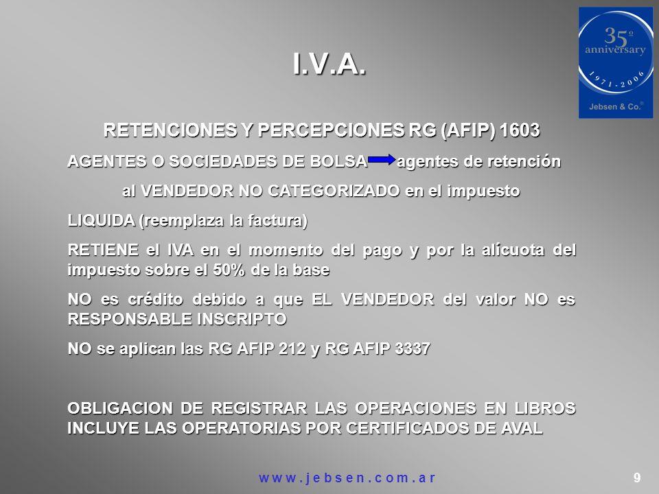 I.V.A. RETENCIONES Y PERCEPCIONES RG (AFIP) 1603 AGENTES O SOCIEDADES DE BOLSAagentes de retención al VENDEDOR NO CATEGORIZADO en el impuesto LIQUIDA