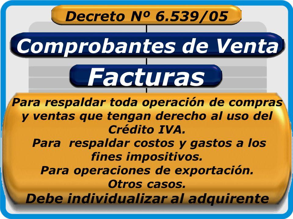 Decreto Nº 6.539/05 Comprobantes de Venta Boletas de Venta Para documentar operaciones con consumidores o usuarios finales del IVA.