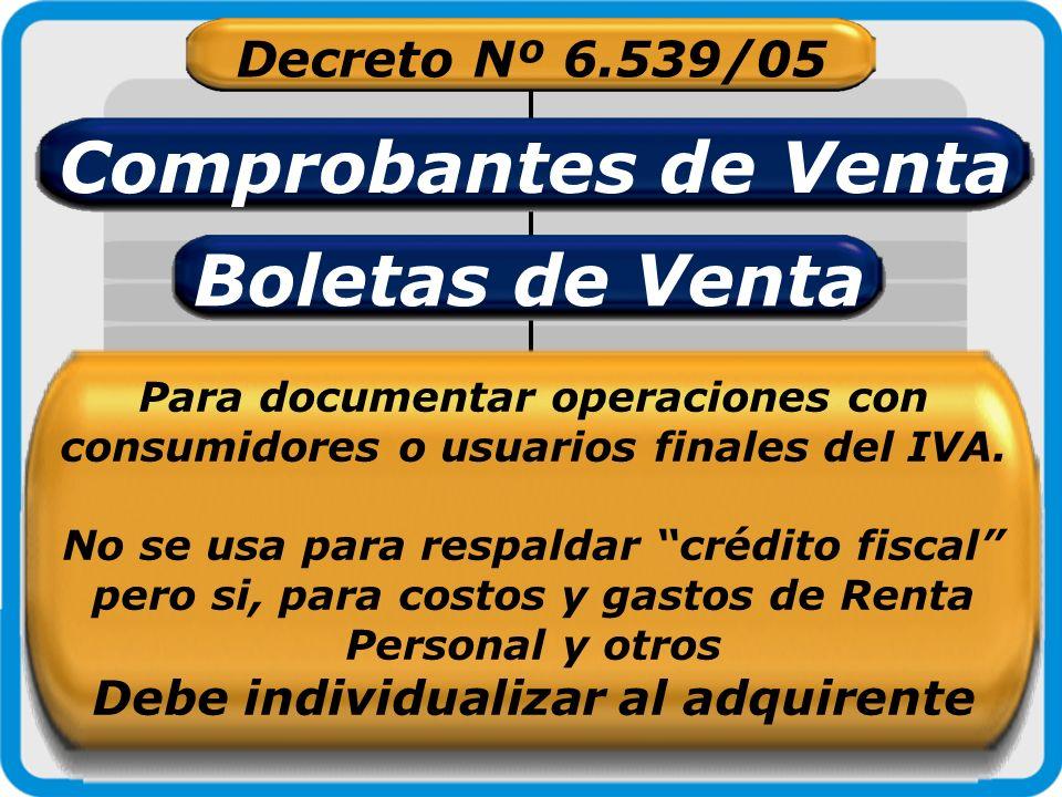 Decreto Nº 6.539/05 Comprobantes de Venta Boletas de Venta Para documentar operaciones con consumidores o usuarios finales del IVA. No se usa para res