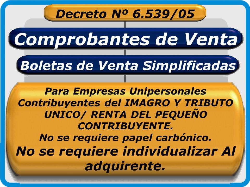 Decreto Nº 6.539/05 Comprobantes de Venta Boletas de Venta Simplificadas Para Empresas Unipersonales Contribuyentes del IMAGRO Y TRIBUTO UNICO/ RENTA