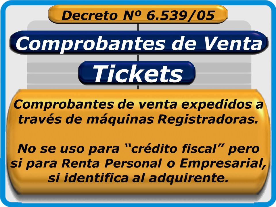 Decreto Nº 6.539/05 Comprobantes de Venta Tickets Comprobantes de venta expedidos a través de máquinas Registradoras. No se uso para crédito fiscal pe