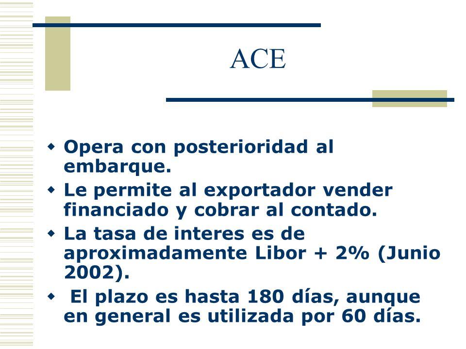 ACE Opera con posterioridad al embarque. Le permite al exportador vender financiado y cobrar al contado. La tasa de interes es de aproximadamente Libo