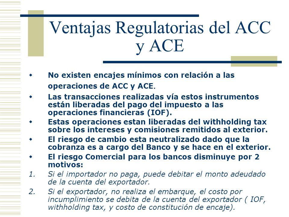 Ventajas Regulatorias del ACC y ACE No existen encajes mínimos con relación a las operaciones de ACC y ACE. Las transacciones realizadas vía estos ins