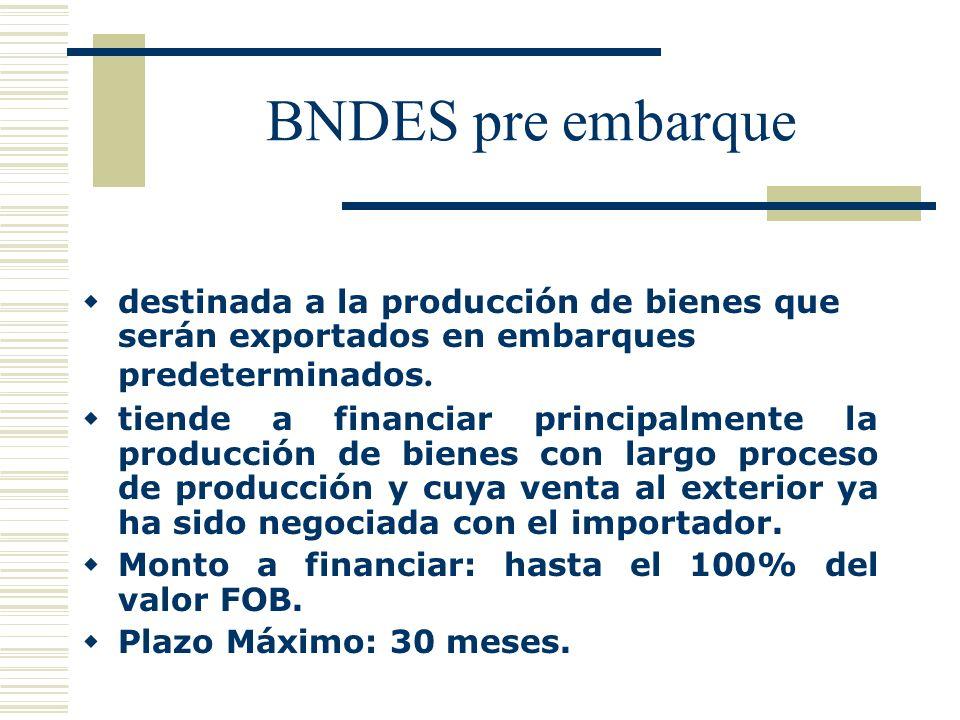 BNDES pre embarque destinada a la producción de bienes que serán exportados en embarques predeterminados. tiende a financiar principalmente la producc