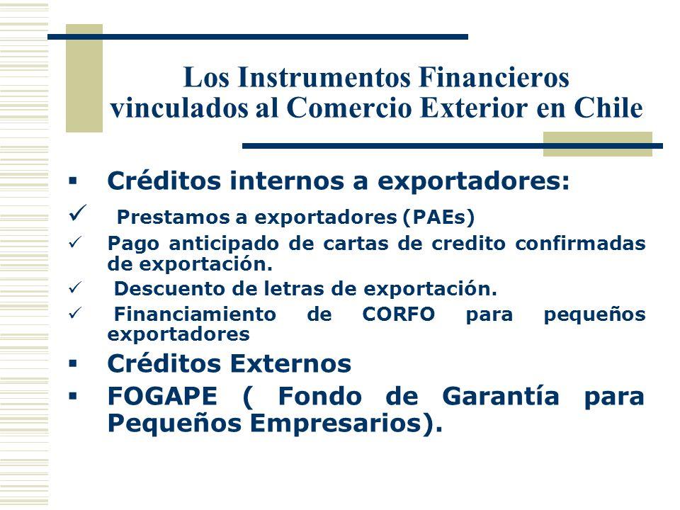 Los Instrumentos Financieros vinculados al Comercio Exterior en Chile Créditos internos a exportadores: Prestamos a exportadores (PAEs) Pago anticipad