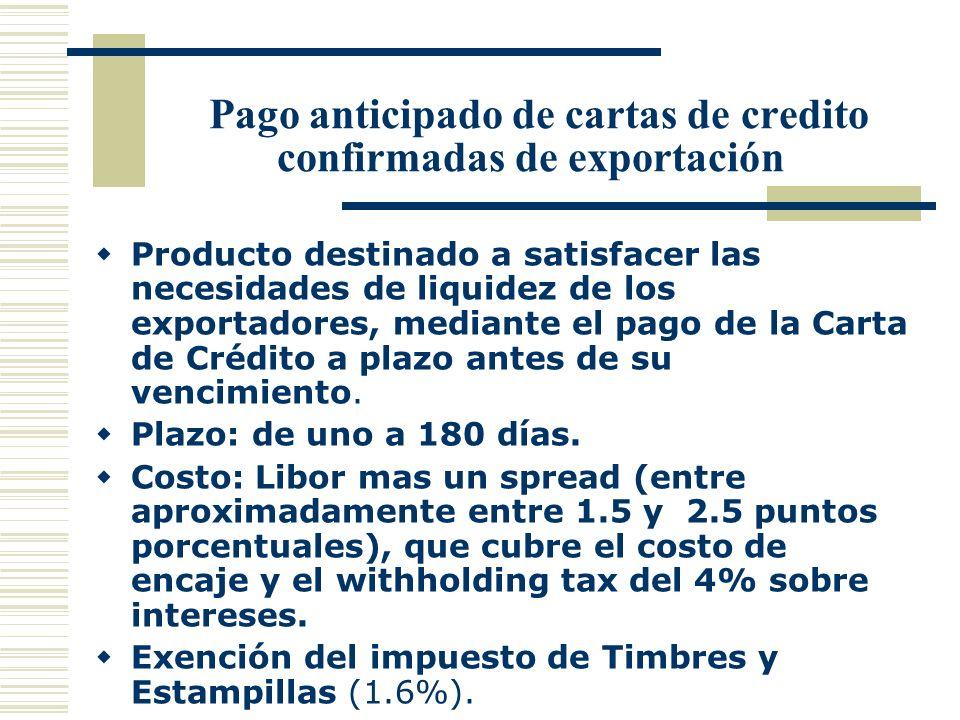 Pago anticipado de cartas de credito confirmadas de exportación Producto destinado a satisfacer las necesidades de liquidez de los exportadores, media