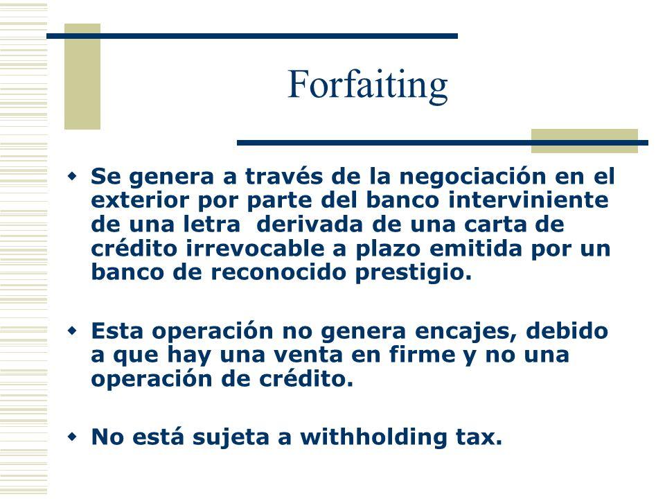 Forfaiting Se genera a través de la negociación en el exterior por parte del banco interviniente de una letra derivada de una carta de crédito irrevoc