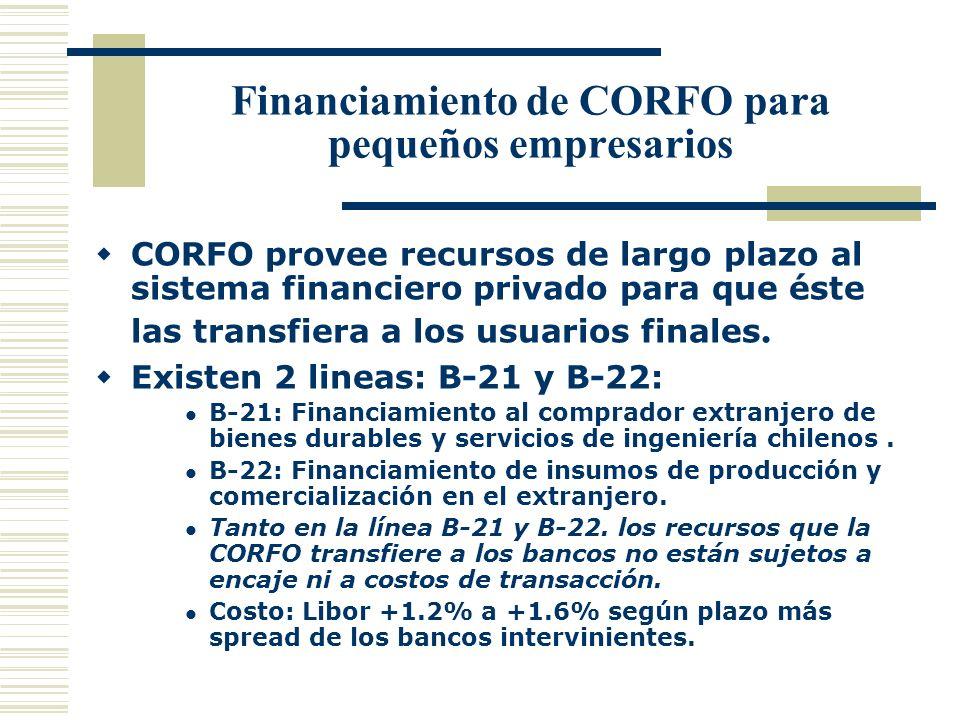 Financiamiento de CORFO para pequeños empresarios CORFO provee recursos de largo plazo al sistema financiero privado para que éste las transfiera a lo