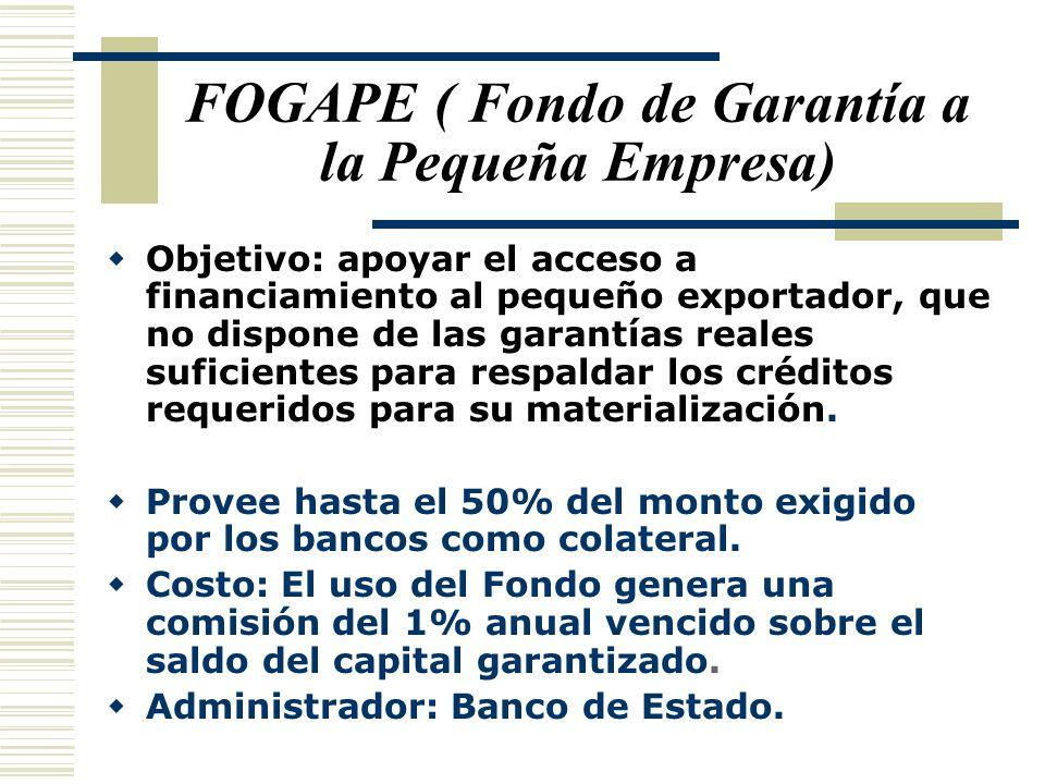 FOGAPE ( Fondo de Garantía a la Pequeña Empresa) Objetivo: apoyar el acceso a financiamiento al pequeño exportador, que no dispone de las garantías re