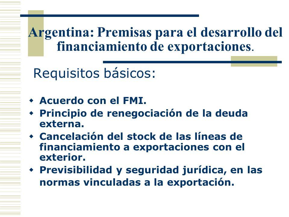 Argentina: Premisas para el desarrollo del financiamiento de exportaciones. Requisitos básicos: Acuerdo con el FMI. Principio de renegociación de la d